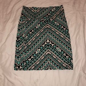 Patterned blue pencil skirt